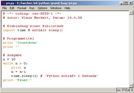Informatik Python Grundlagen Schleifen